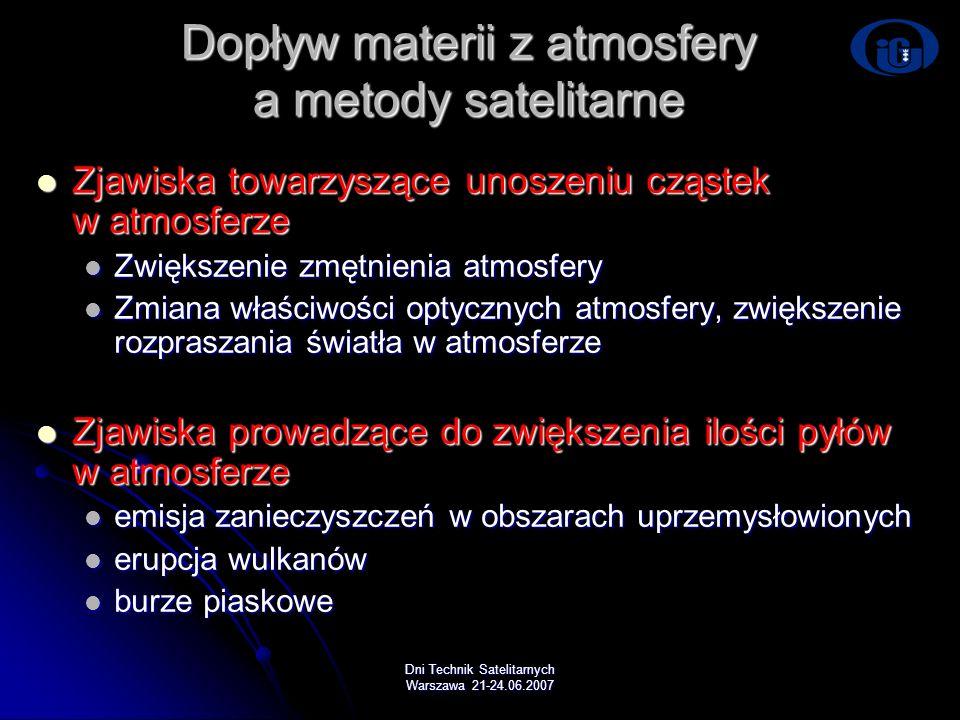 Dopływ materii z atmosfery a metody satelitarne
