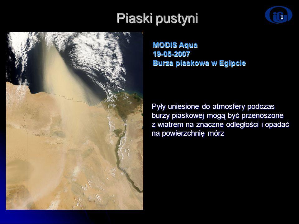 Piaski pustyni MODIS Aqua 19-05-2007 Burza piaskowa w Egipcie