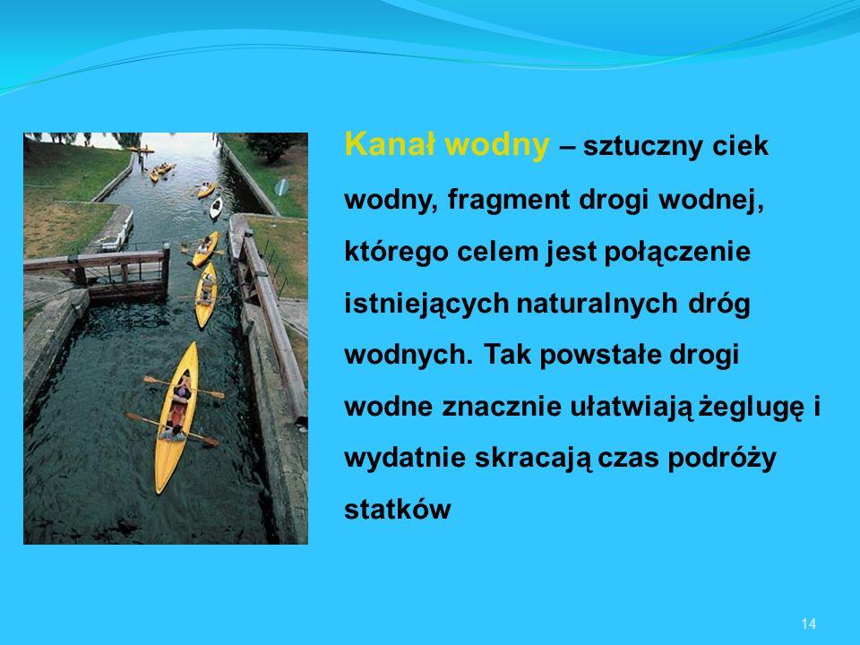Kanał wodny – sztuczny ciek wodny, fragment drogi wodnej, którego celem jest połączenie istniejących naturalnych dróg wodnych. Tak powstałe drogi wodne znacznie ułatwiają żeglugę i wydatnie skracają czas podróży statków