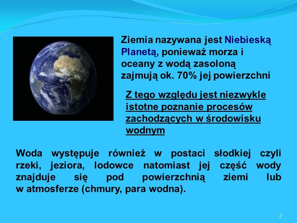 Ziemia nazywana jest Niebieską Planetą, ponieważ morza i oceany z wodą zasoloną zajmują ok. 70% jej powierzchni