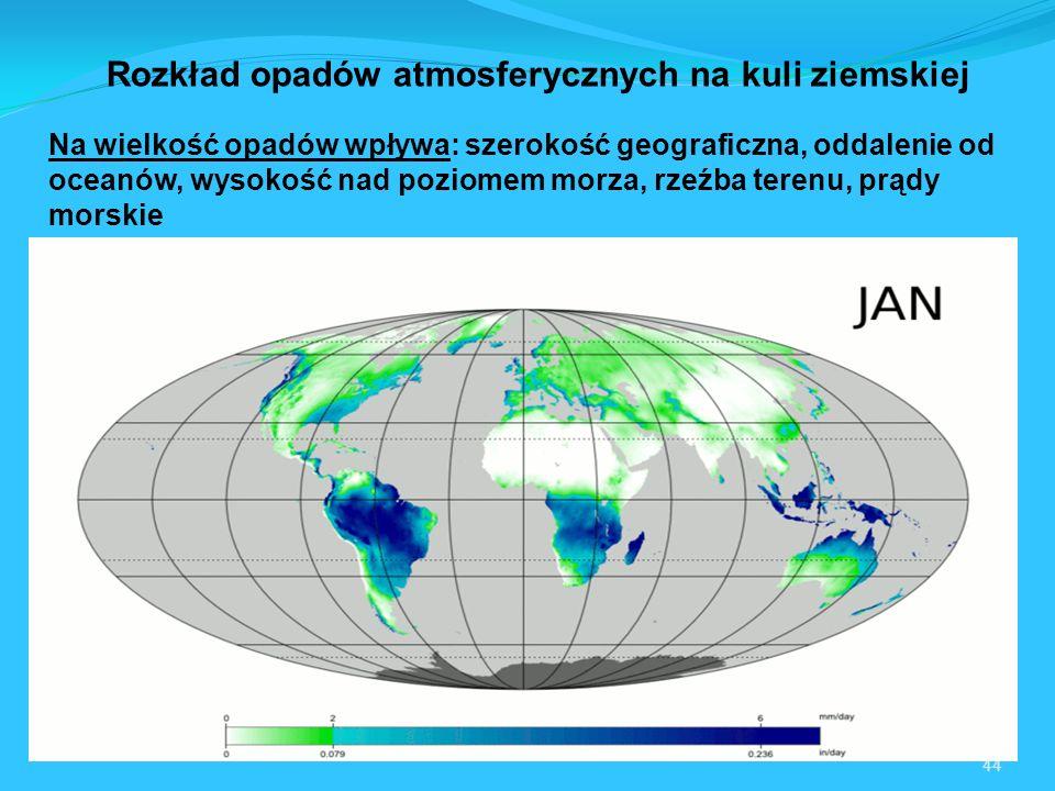 Rozkład opadów atmosferycznych na kuli ziemskiej