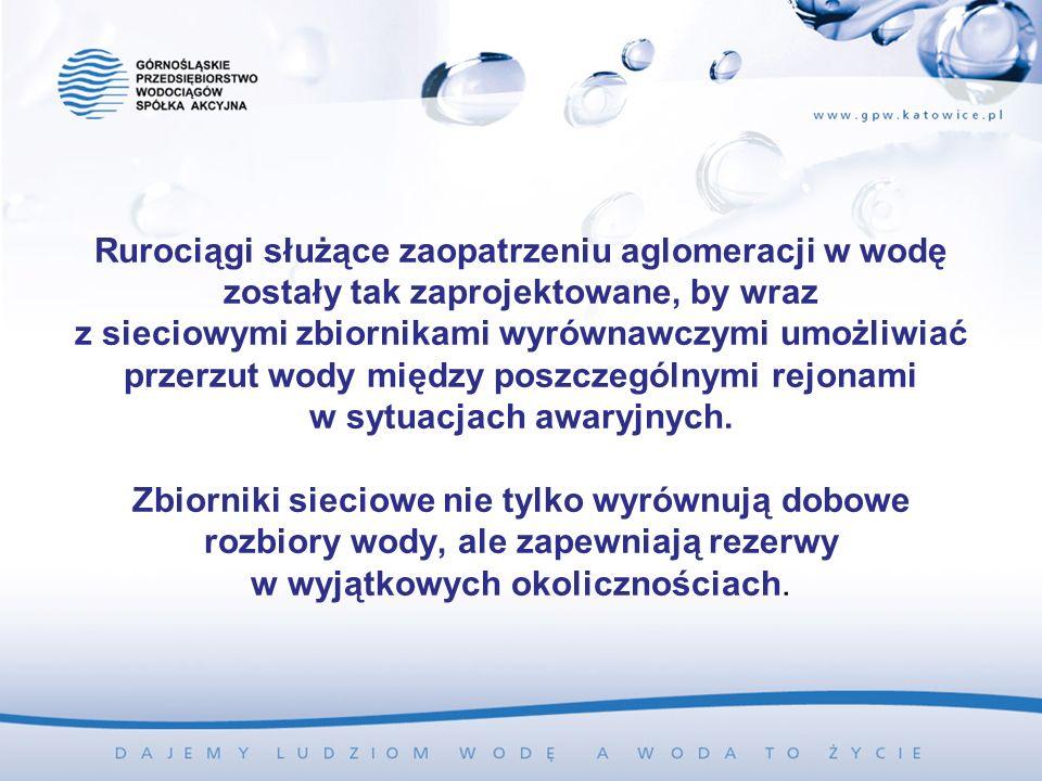 Rurociągi służące zaopatrzeniu aglomeracji w wodę zostały tak zaprojektowane, by wraz z sieciowymi zbiornikami wyrównawczymi umożliwiać przerzut wody między poszczególnymi rejonami w sytuacjach awaryjnych.