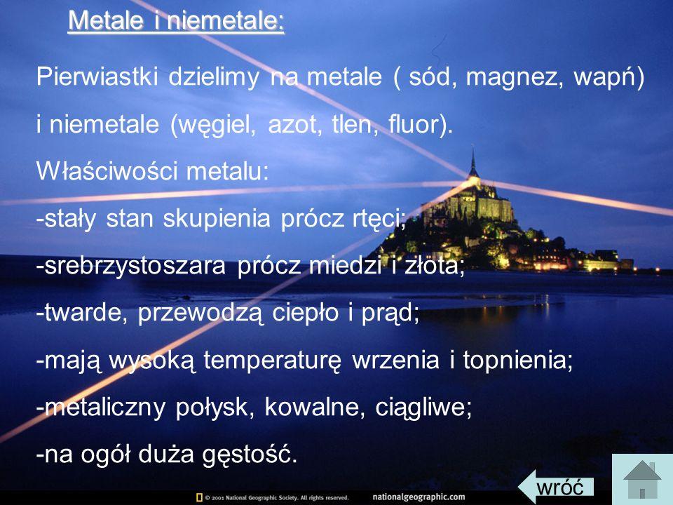 Pierwiastki dzielimy na metale ( sód, magnez, wapń)