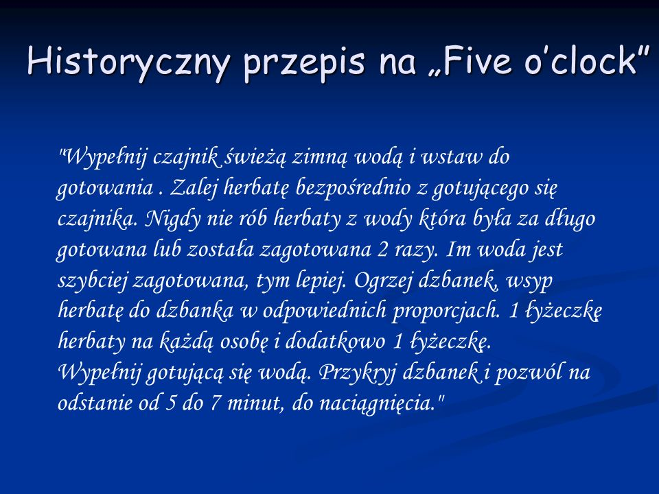 """Historyczny przepis na """"Five o'clock"""