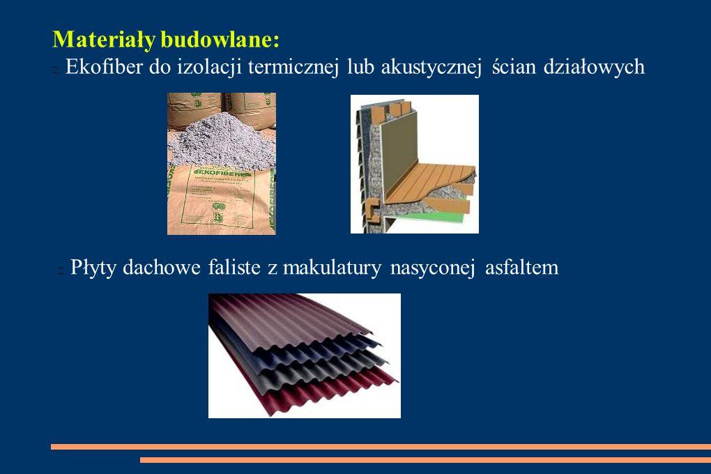 Materiały budowlane: Ekofiber do izolacji termicznej lub akustycznej ścian działowych.