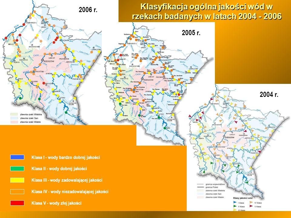 Klasyfikacja ogólna jakości wód w rzekach badanych w latach 2004 - 2006