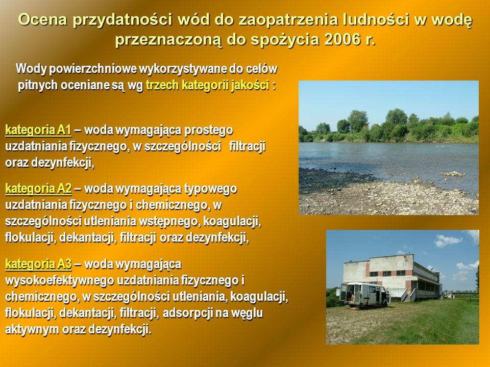Ocena przydatności wód do zaopatrzenia ludności w wodę przeznaczoną do spożycia 2006 r.