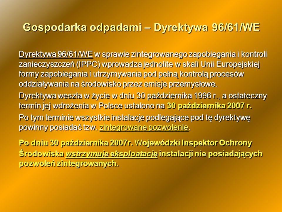 Gospodarka odpadami – Dyrektywa 96/61/WE