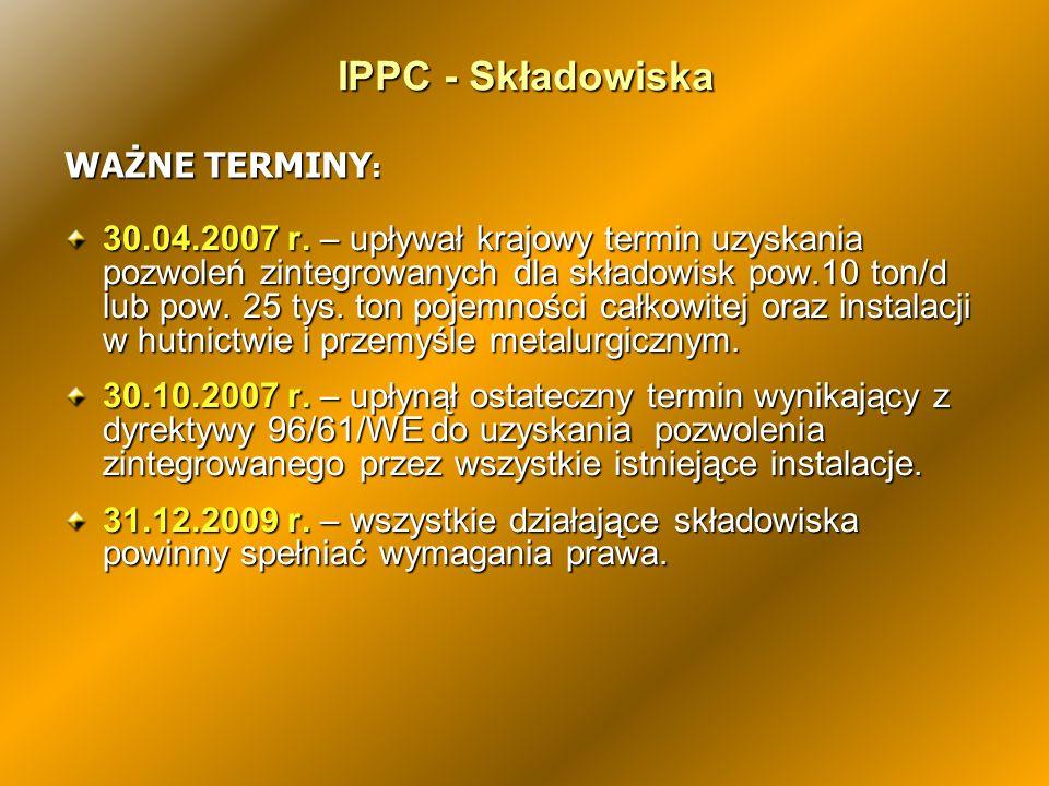 IPPC - Składowiska WAŻNE TERMINY: