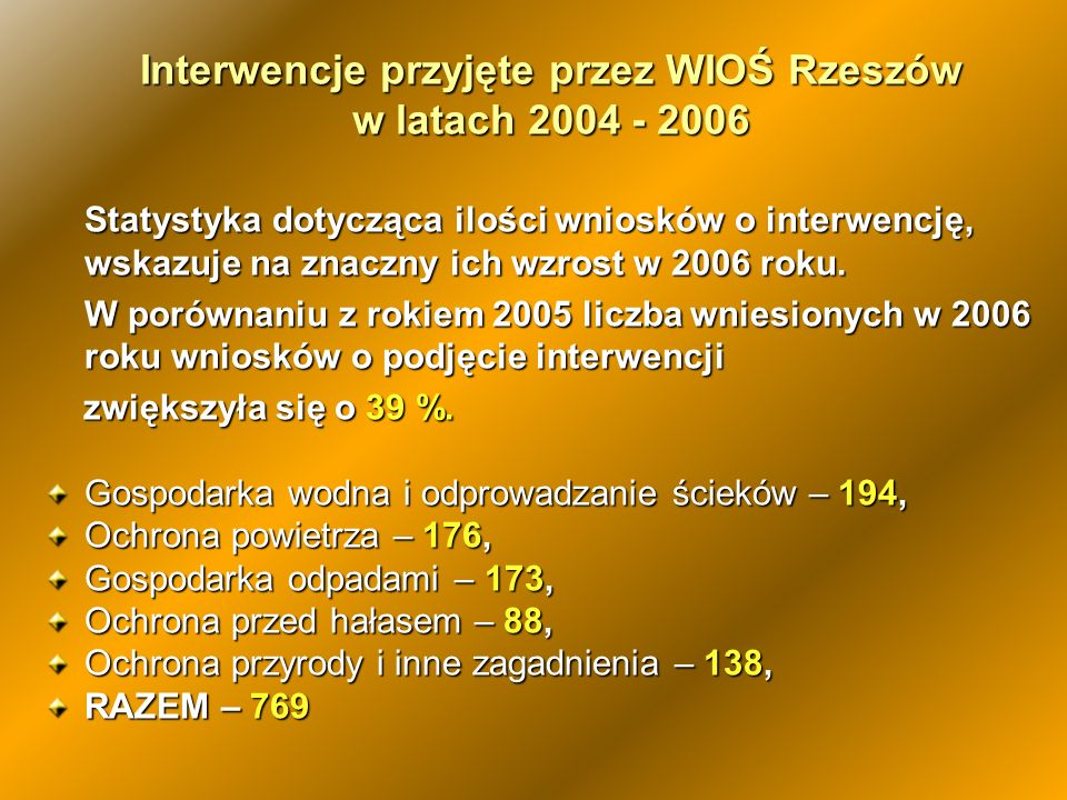 Interwencje przyjęte przez WIOŚ Rzeszów w latach 2004 - 2006