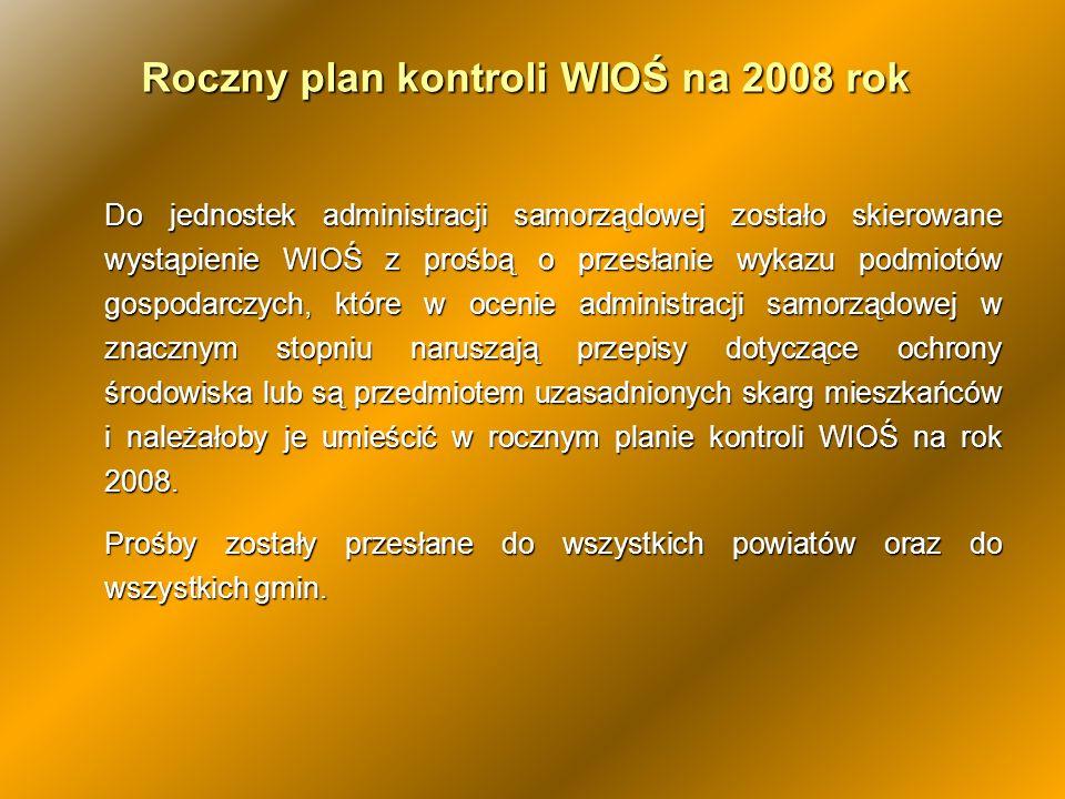 Roczny plan kontroli WIOŚ na 2008 rok