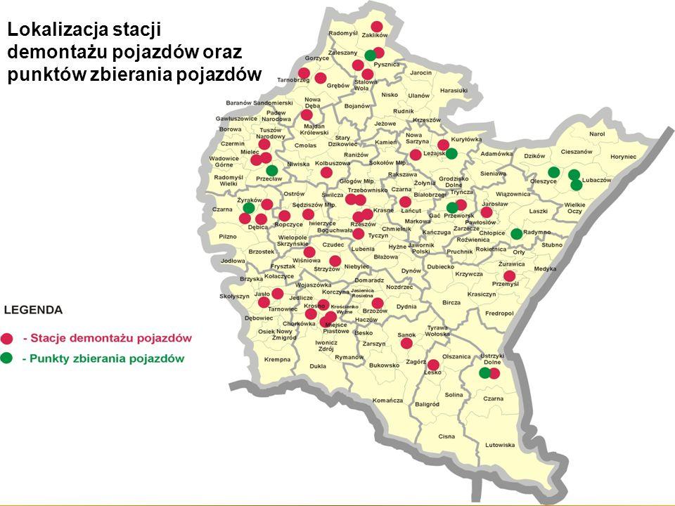 Lokalizacja stacji demontażu pojazdów oraz punktów zbierania pojazdów