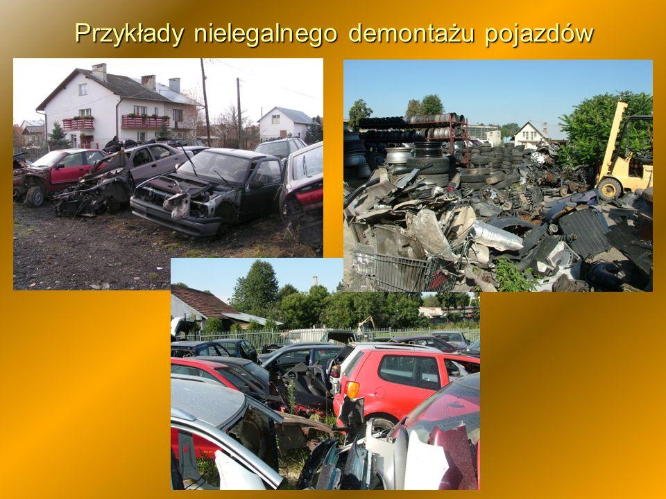 Przykłady nielegalnego demontażu pojazdów
