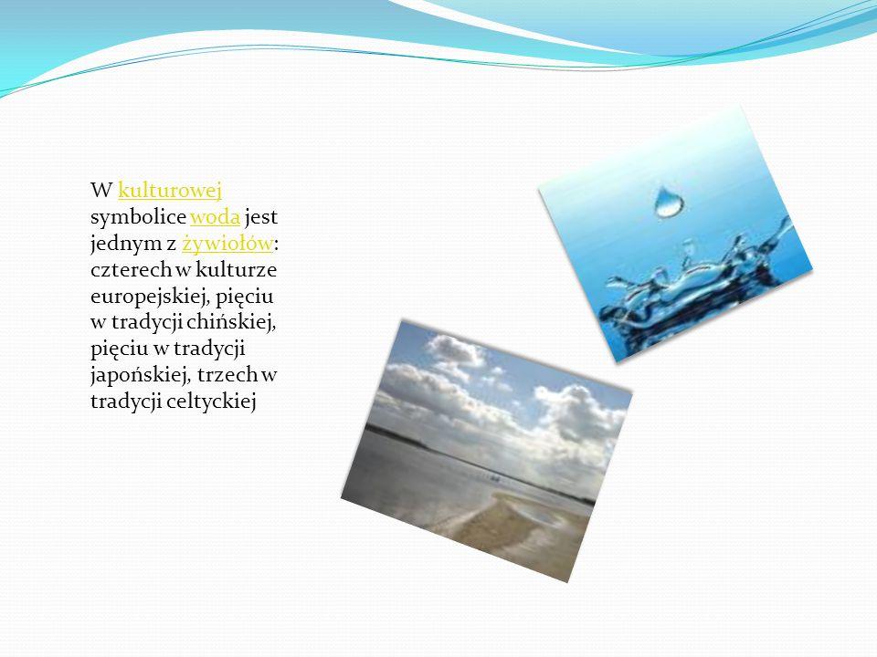 W kulturowej symbolice woda jest jednym z żywiołów: czterech w kulturze europejskiej, pięciu w tradycji chińskiej, pięciu w tradycji japońskiej, trzech w tradycji celtyckiej