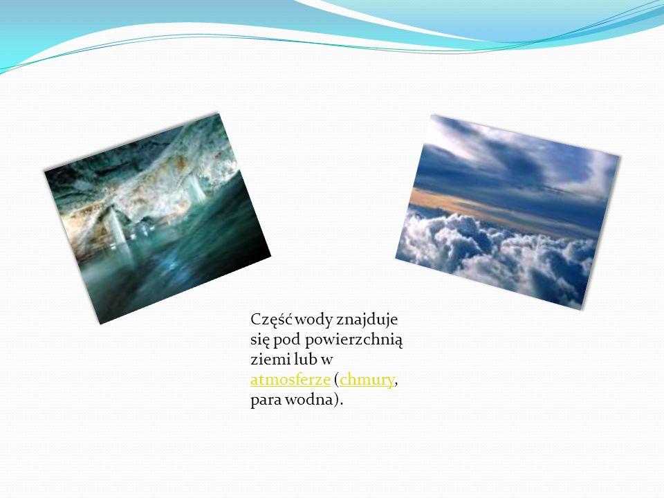 Część wody znajduje się pod powierzchnią ziemi lub w atmosferze (chmury, para wodna).