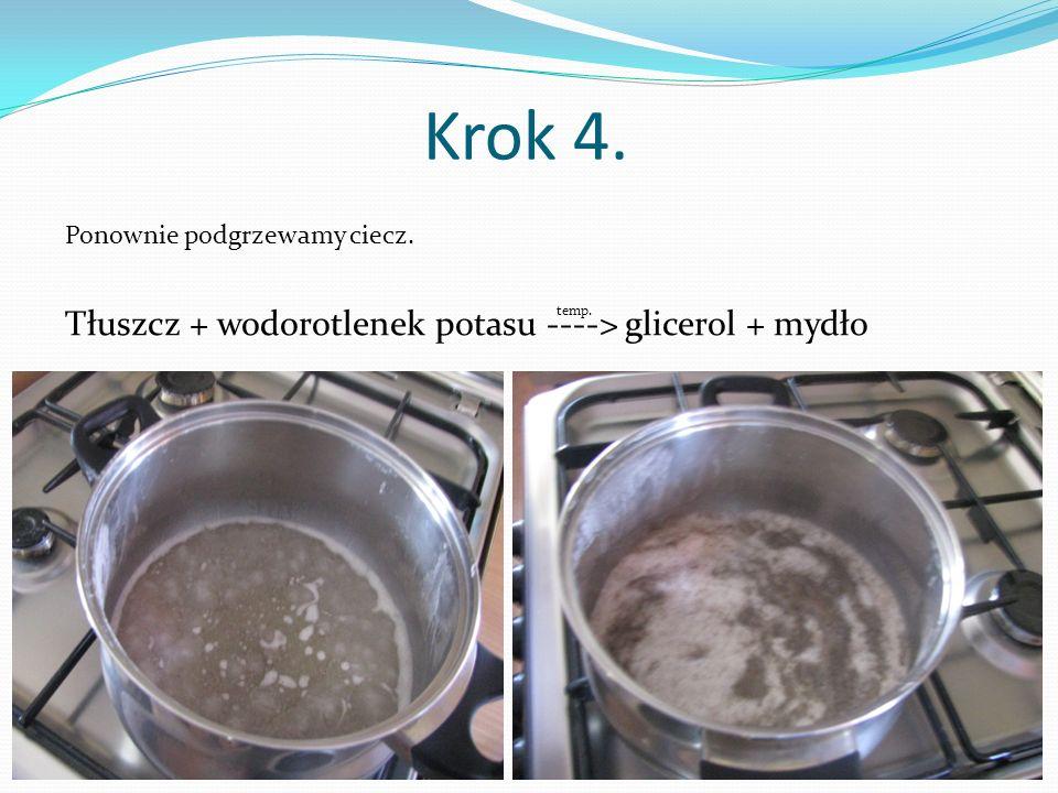 Krok 4. Tłuszcz + wodorotlenek potasu ----> glicerol + mydło