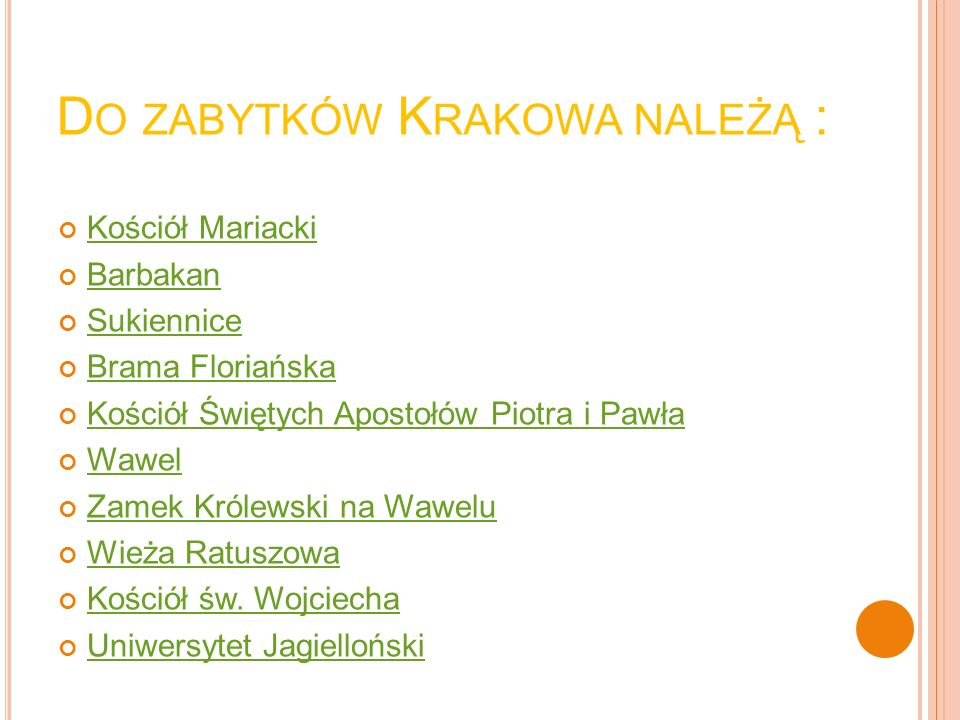 Do zabytków Krakowa należą :