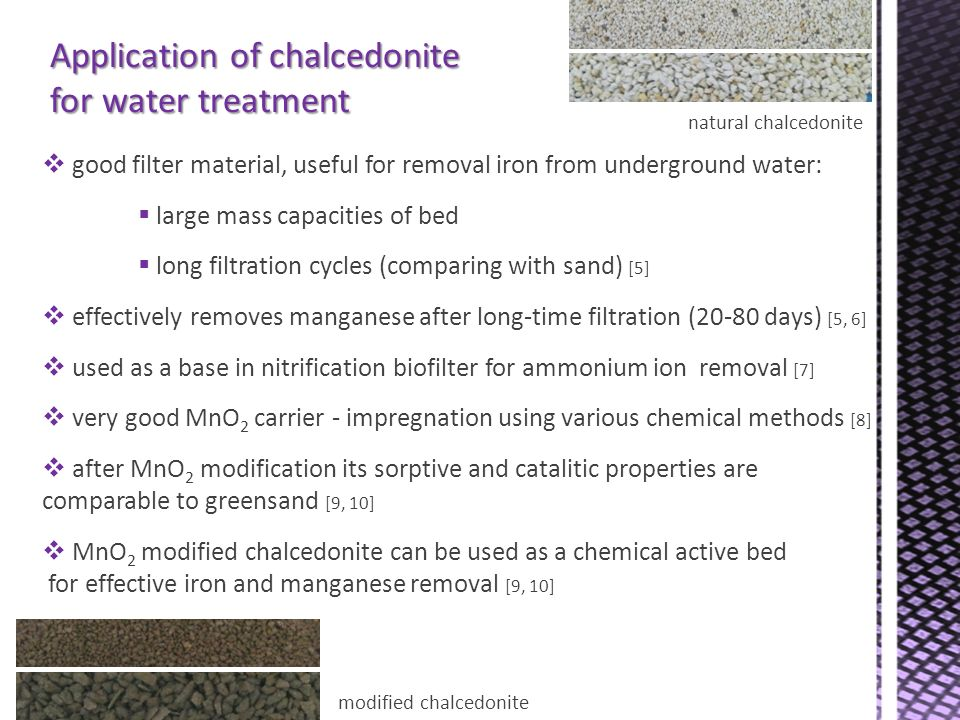 Application of chalcedonite for water treatment