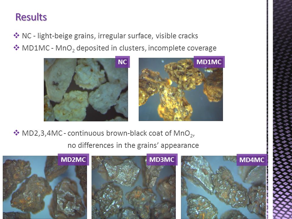 Results NC - light-beige grains, irregular surface, visible cracks