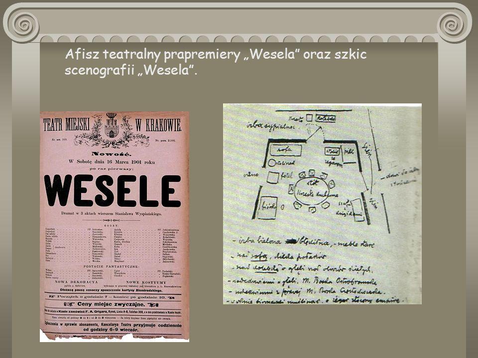 """Afisz teatralny prapremiery """"Wesela oraz szkic scenografii """"Wesela ."""
