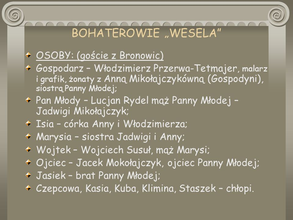 """BOHATEROWIE """"WESELA OSOBY: (goście z Bronowic)"""