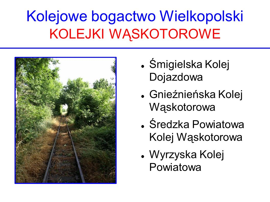 Kolejowe bogactwo Wielkopolski KOLEJKI WĄSKOTOROWE