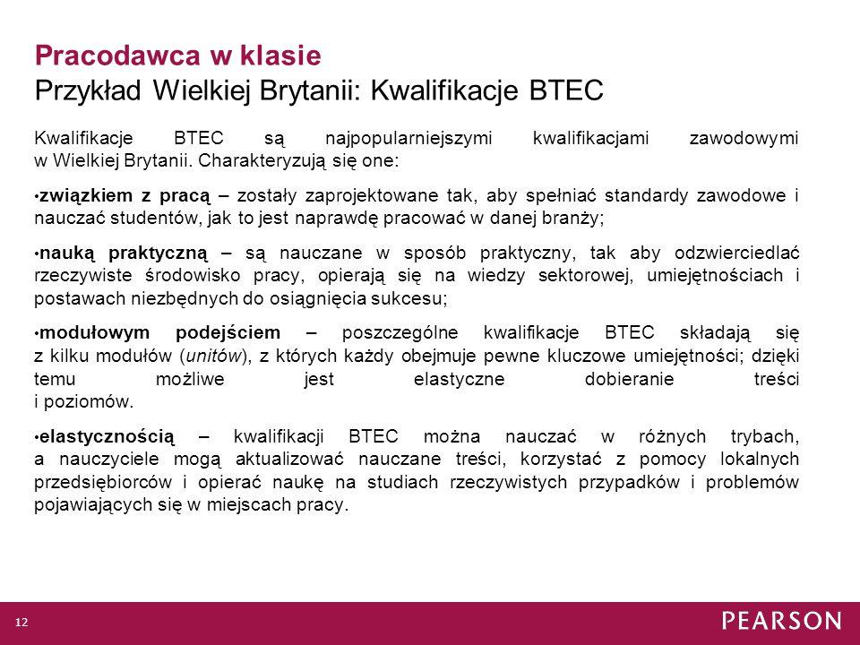 Pracodawca w klasie Przykład Wielkiej Brytanii: Kwalifikacje BTEC