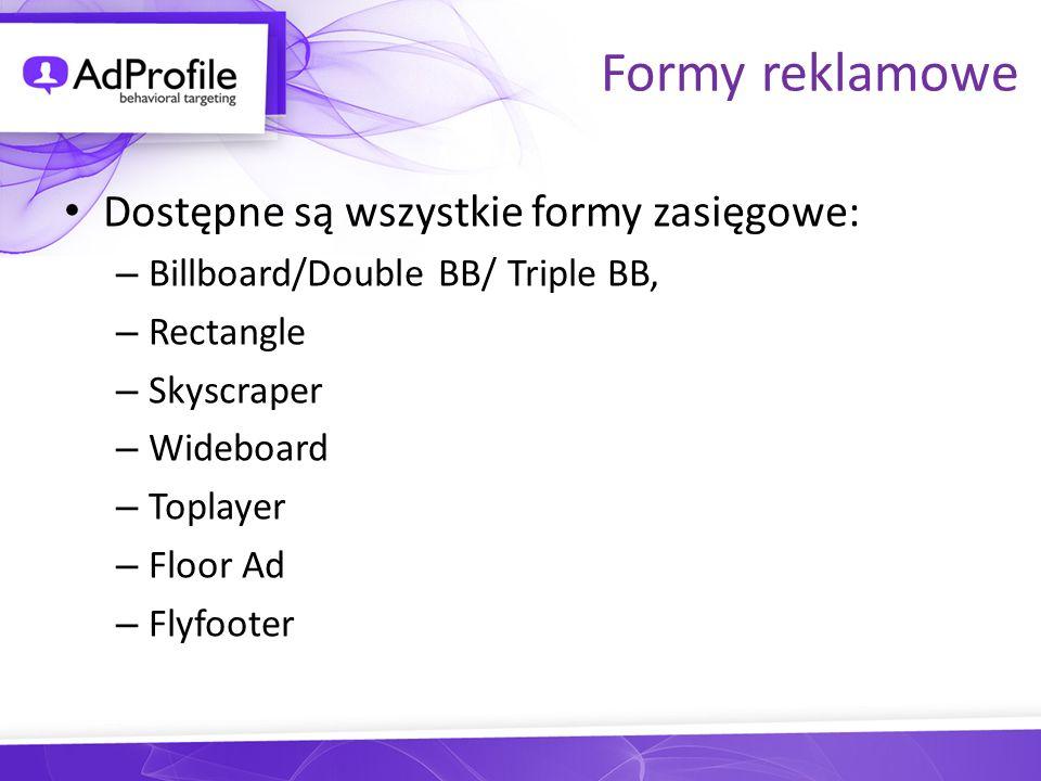 Formy reklamowe Dostępne są wszystkie formy zasięgowe:
