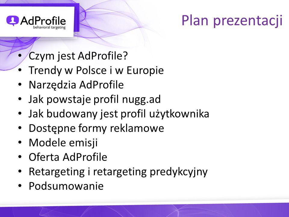 Plan prezentacji Czym jest AdProfile Trendy w Polsce i w Europie