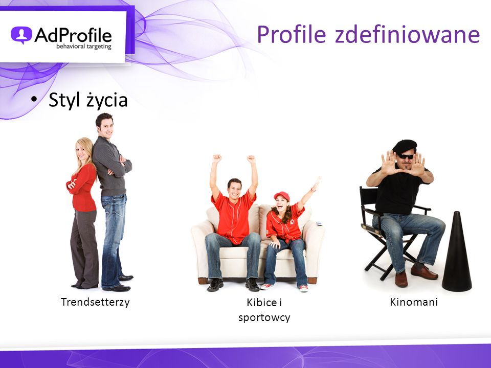 Profile zdefiniowane Styl życia Trendsetterzy Kibice i sportowcy