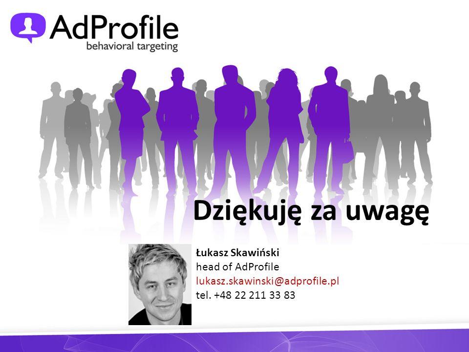 Dziękuję za uwagę Łukasz Skawiński head of AdProfile