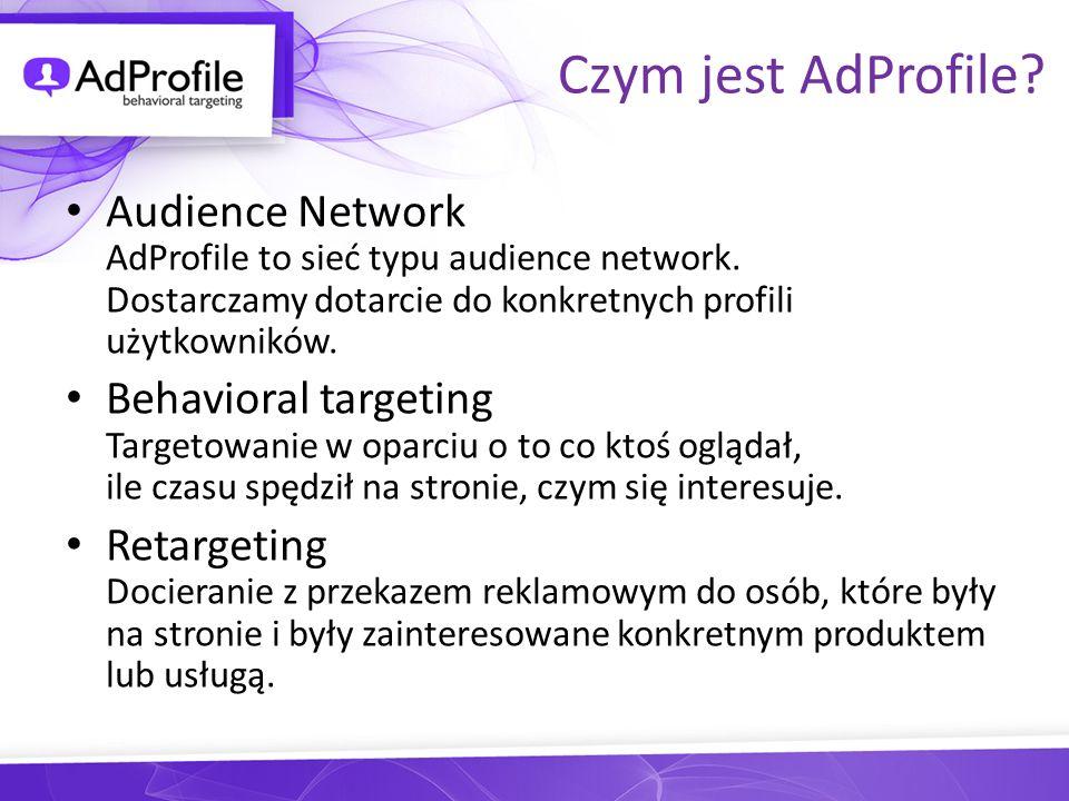 Czym jest AdProfile Audience Network AdProfile to sieć typu audience network. Dostarczamy dotarcie do konkretnych profili użytkowników.