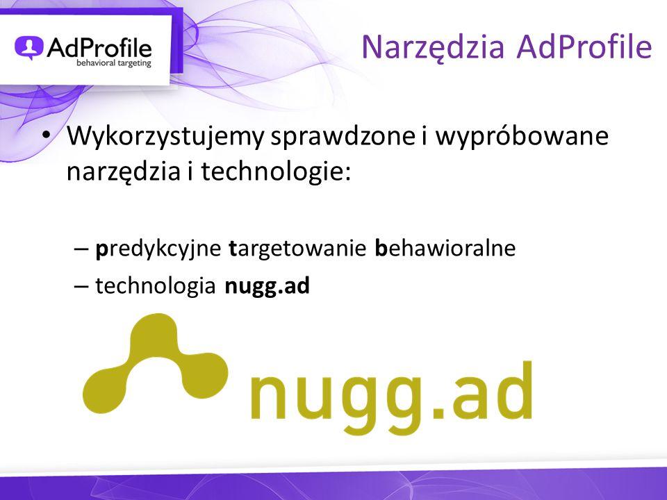 Narzędzia AdProfile Wykorzystujemy sprawdzone i wypróbowane narzędzia i technologie: predykcyjne targetowanie behawioralne.