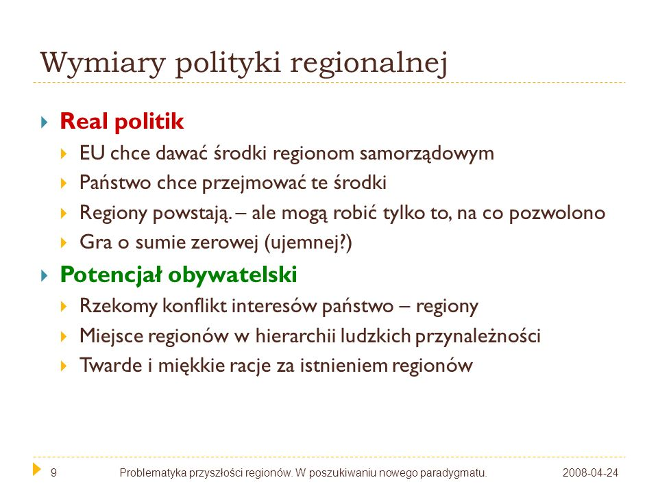 Wymiary polityki regionalnej