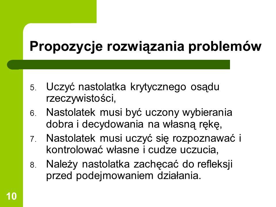 Propozycje rozwiązania problemów