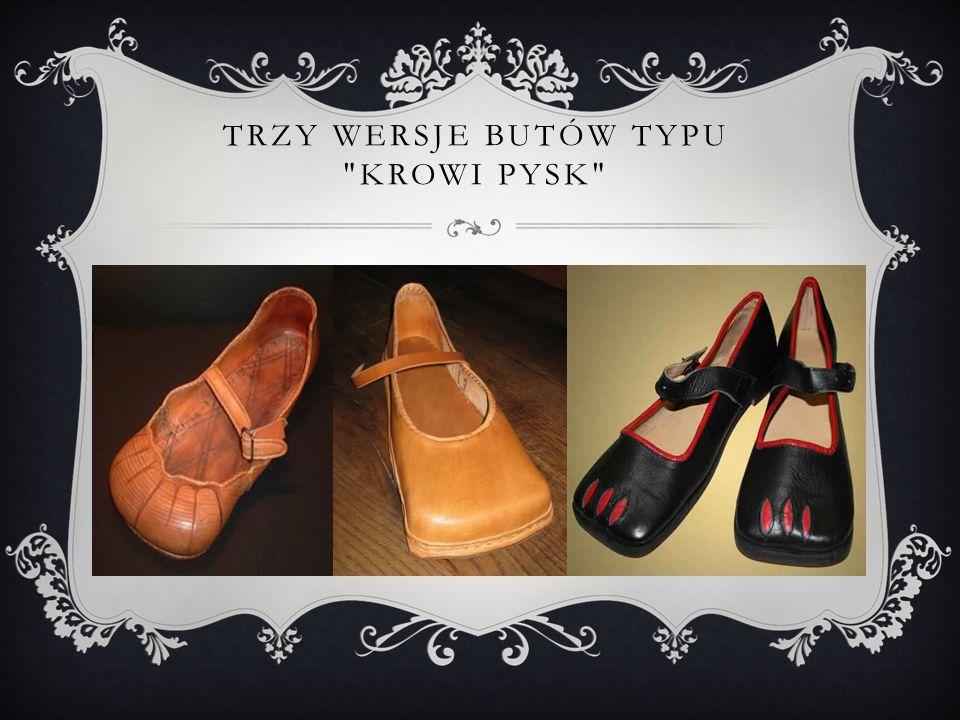 Trzy wersje butów typu krowi pysk