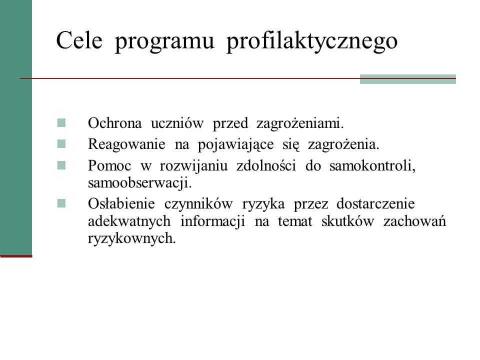 Cele programu profilaktycznego