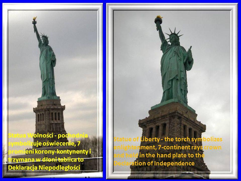 Statua Wolności - pochodnia symbolizuje oświecenie, 7 promieni korony-kontynenty i trzymana w dłoni tablica to Deklaracja Niepodległości