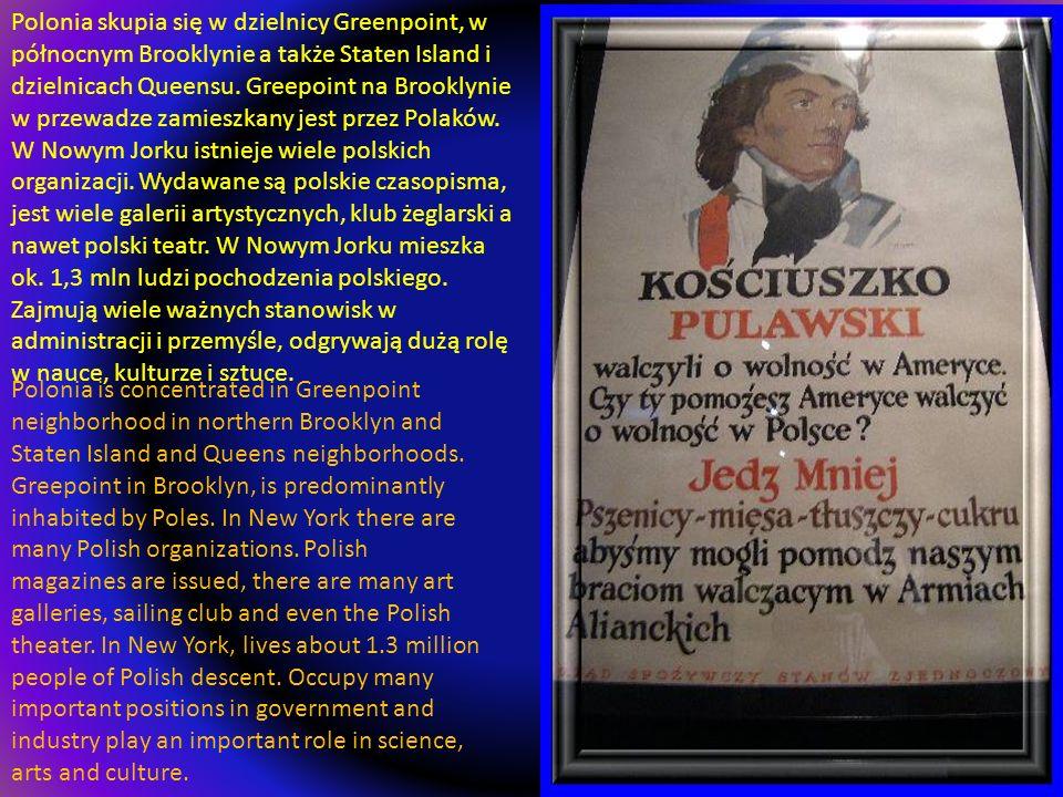 Polonia skupia się w dzielnicy Greenpoint, w północnym Brooklynie a także Staten Island i dzielnicach Queensu. Greepoint na Brooklynie w przewadze zamieszkany jest przez Polaków. W Nowym Jorku istnieje wiele polskich organizacji. Wydawane są polskie czasopisma, jest wiele galerii artystycznych, klub żeglarski a nawet polski teatr. W Nowym Jorku mieszka ok. 1,3 mln ludzi pochodzenia polskiego. Zajmują wiele ważnych stanowisk w administracji i przemyśle, odgrywają dużą rolę w nauce, kulturze i sztuce.