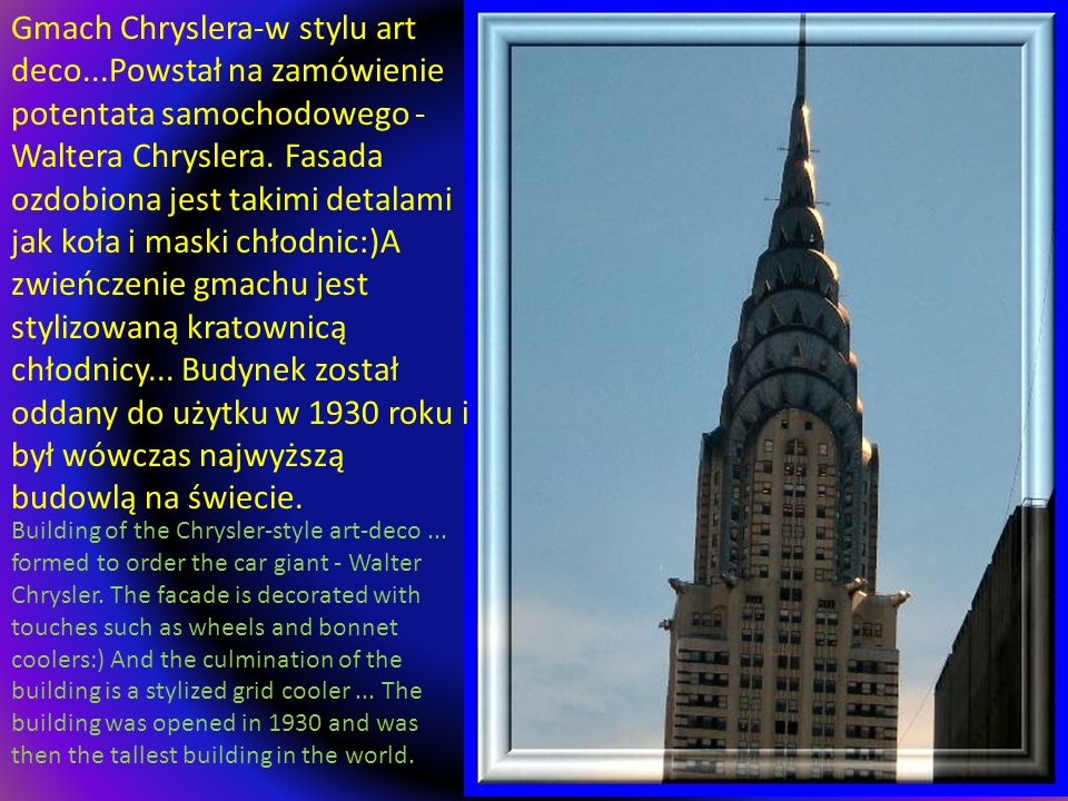 Gmach Chryslera-w stylu art deco