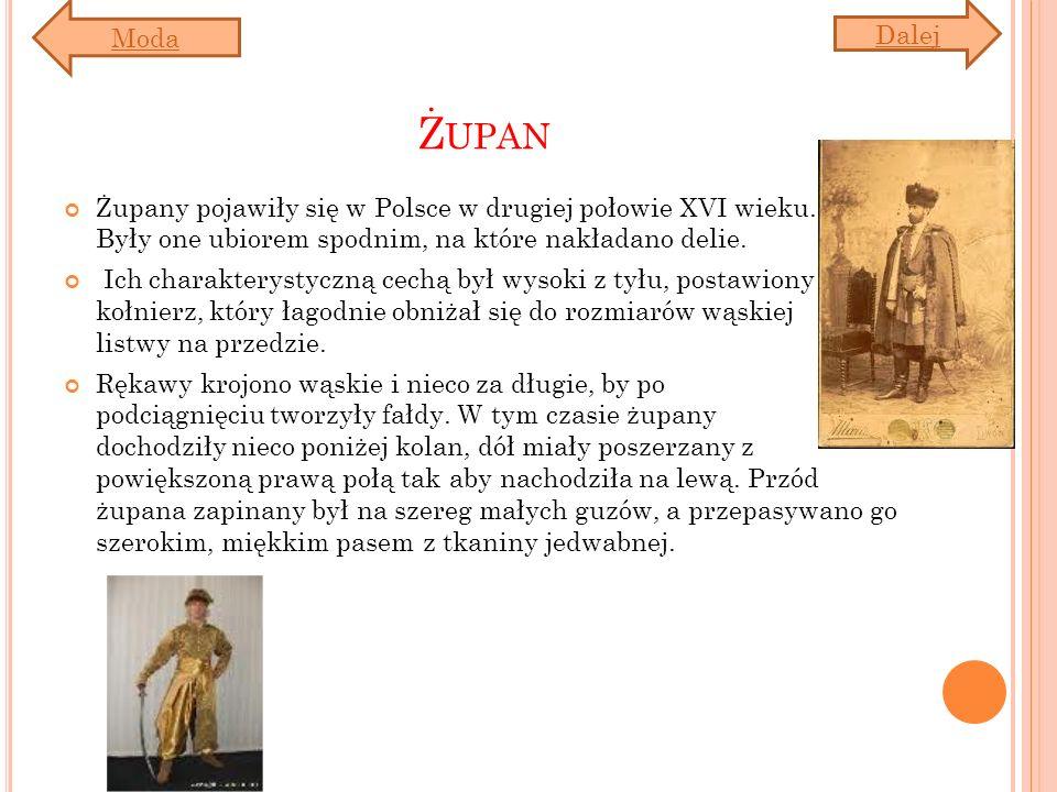 Moda Dalej. Żupan. Żupany pojawiły się w Polsce w drugiej połowie XVI wieku. Były one ubiorem spodnim, na które nakładano delie.