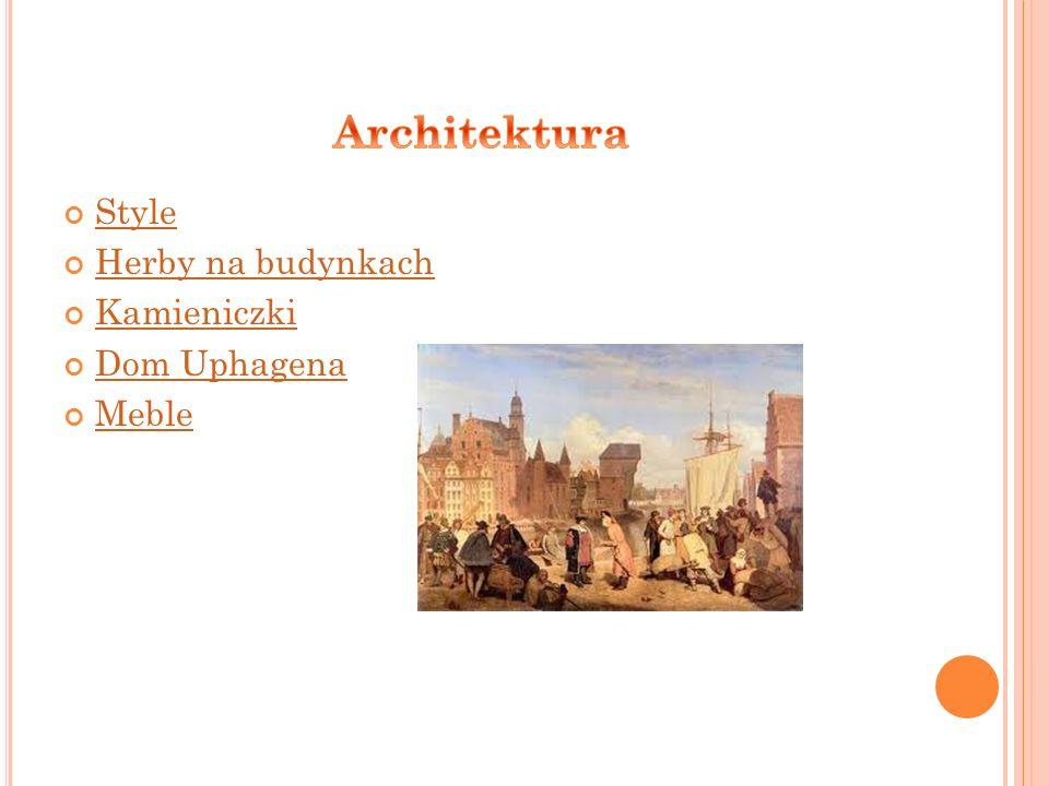 Architektura Style Herby na budynkach Kamieniczki Dom Uphagena Meble