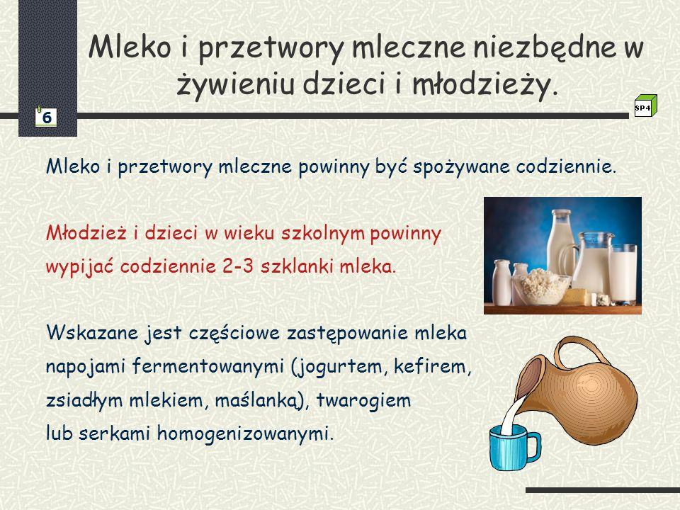 Mleko i przetwory mleczne niezbędne w żywieniu dzieci i młodzieży.