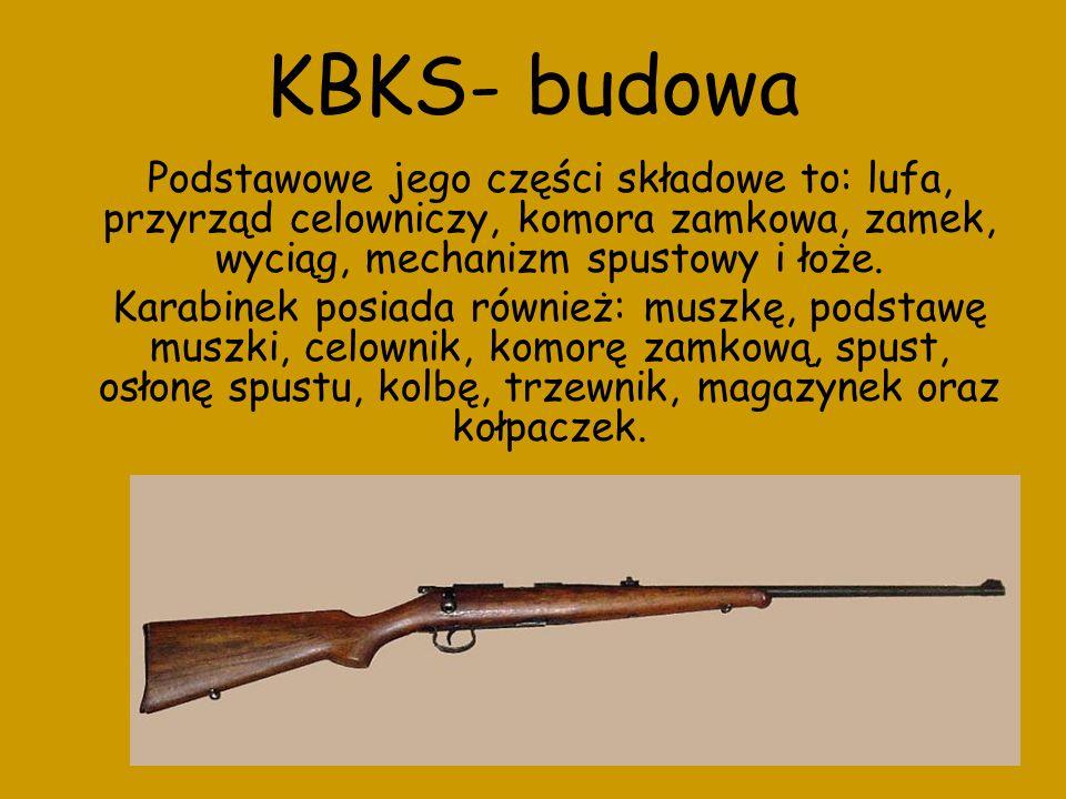 KBKS- budowa Podstawowe jego części składowe to: lufa, przyrząd celowniczy, komora zamkowa, zamek, wyciąg, mechanizm spustowy i łoże.