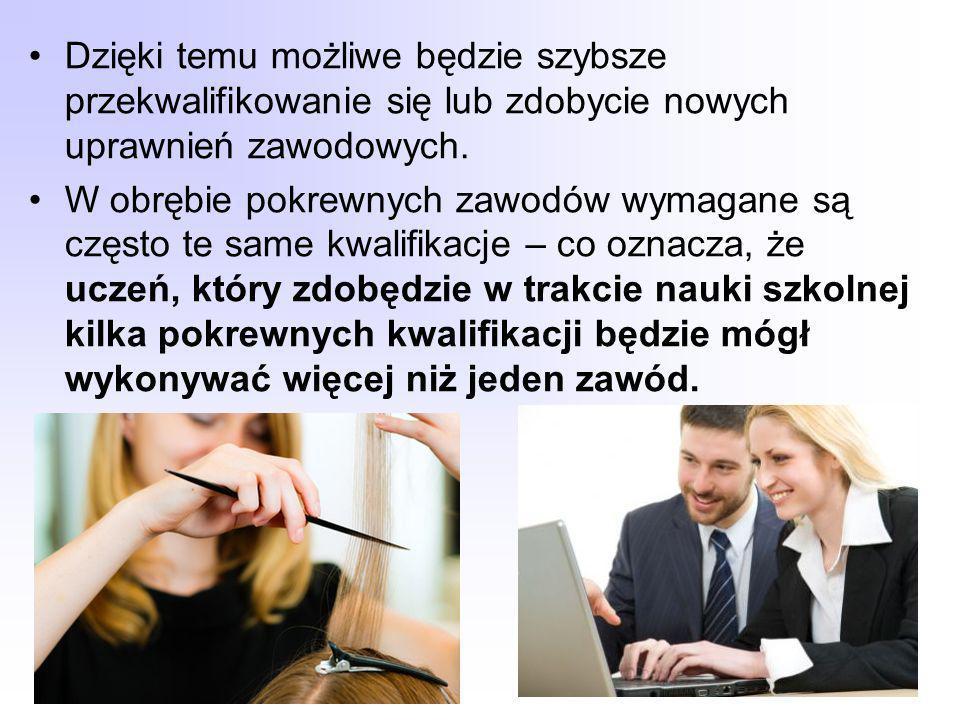 Dzięki temu możliwe będzie szybsze przekwalifikowanie się lub zdobycie nowych uprawnień zawodowych.