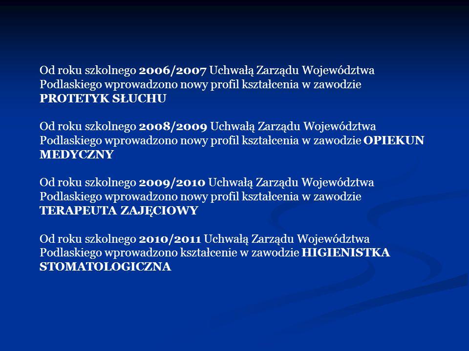 Od roku szkolnego 2006/2007 Uchwałą Zarządu Województwa Podlaskiego wprowadzono nowy profil kształcenia w zawodzie PROTETYK SŁUCHU
