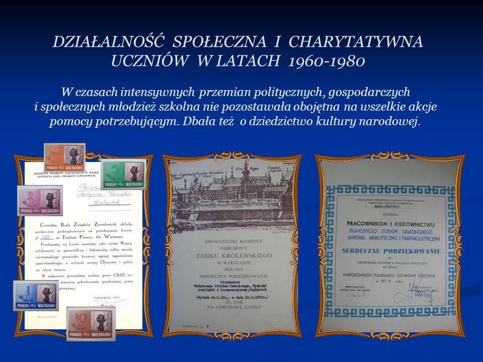 DZIAŁALNOŚĆ SPOŁECZNA I CHARYTATYWNA UCZNIÓW W LATACH 1960-1980