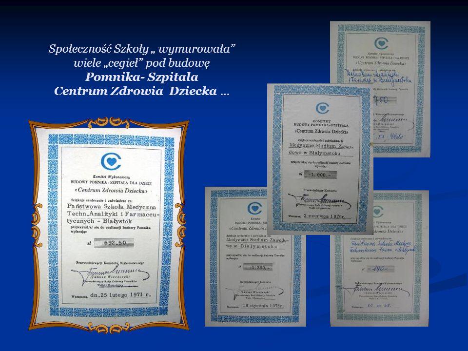 """Społeczność Szkoły """" wymurowała wiele """"cegieł pod budowę Pomnika- Szpitala Centrum Zdrowia Dziecka …"""