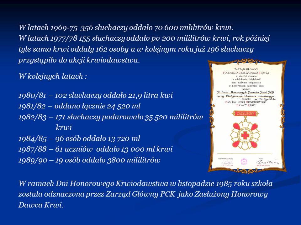 W latach 1969-75 356 słuchaczy oddało 70 600 mililitrów krwi.