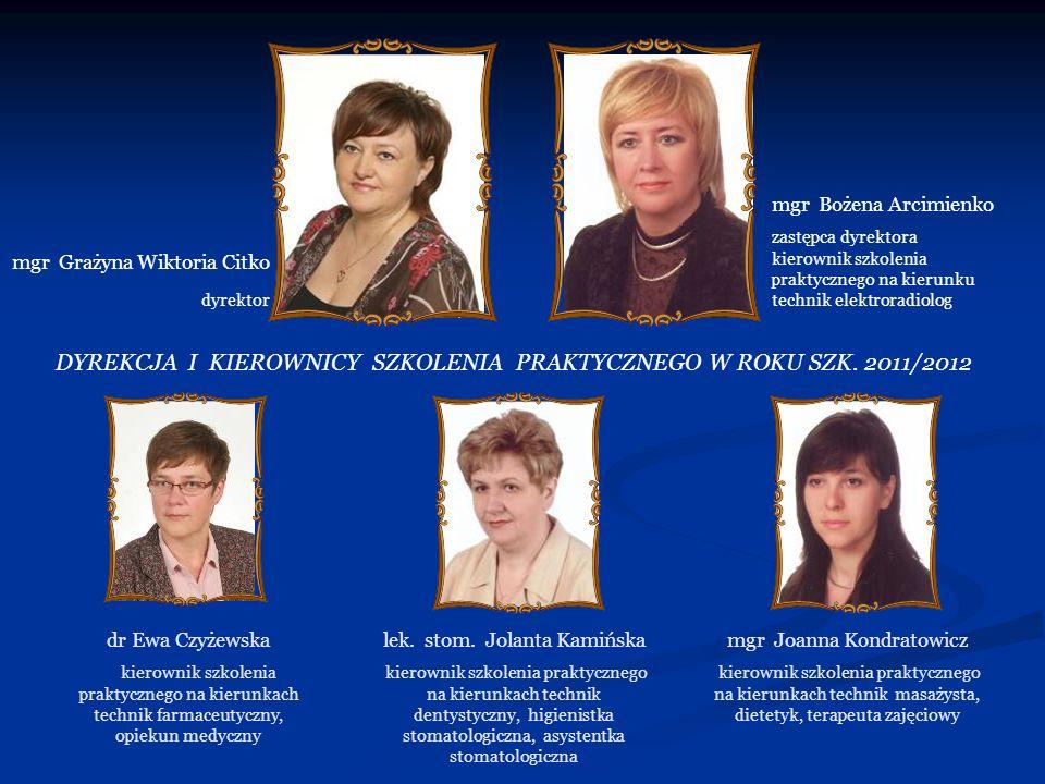DYREKCJA I KIEROWNICY SZKOLENIA PRAKTYCZNEGO W ROKU SZK. 2011/2012